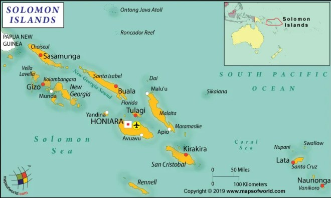 The Solomon Islands is located in the South Pacific Ocean