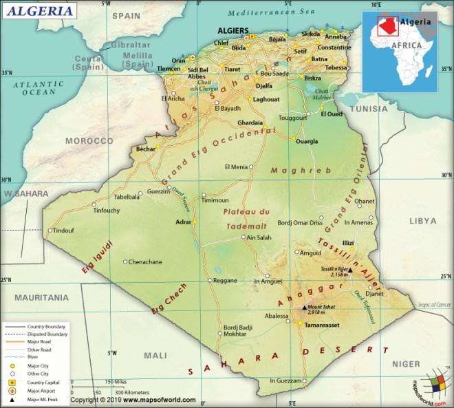 Map of People's Democratic Republic of Algeria