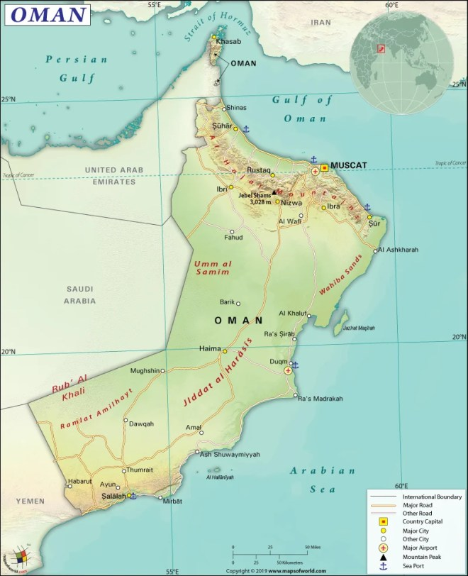 Map of Sultanate of Oman