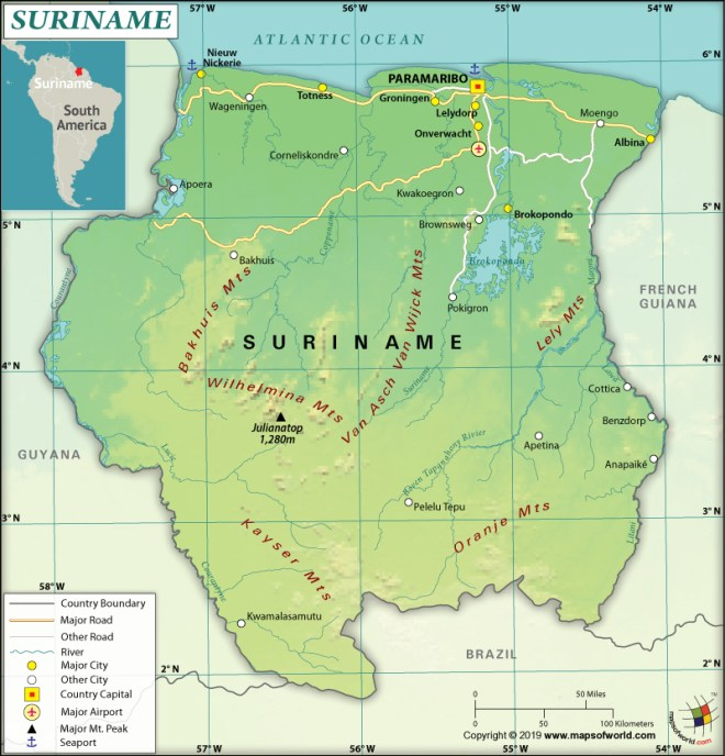 Map of Republic of Suriname