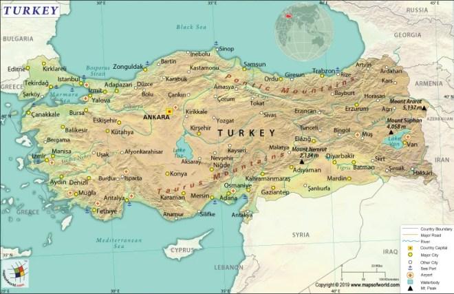 Map of Republic of Turkey