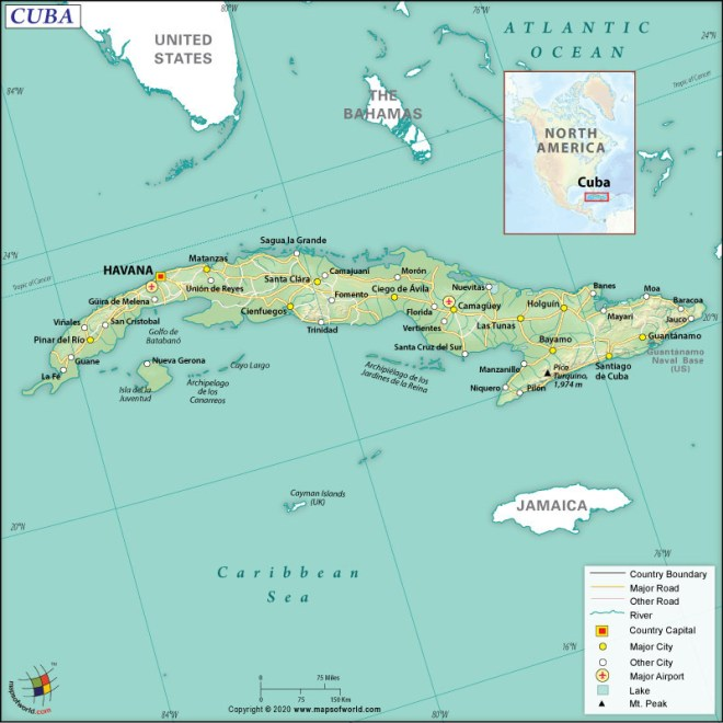 Map of Republic of Cuba