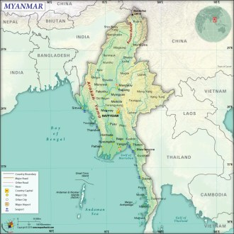 Map of Republic of the Union of Myanmar