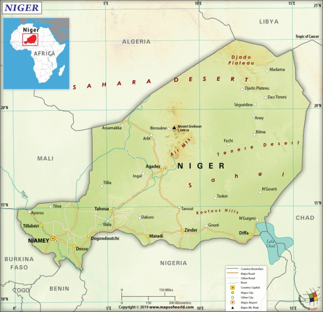 Map of the Republic of the Niger