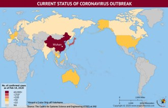 Map of World Showing Current Status of Coronavirus Outbreak (February 14, 2020)