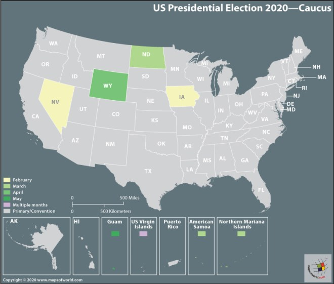 Map of USA - Presidential Election 2020 - Caucus