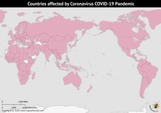 Map of World Highlighting Countries Affected by Coronavirus Outbreak as per April 05, 2020