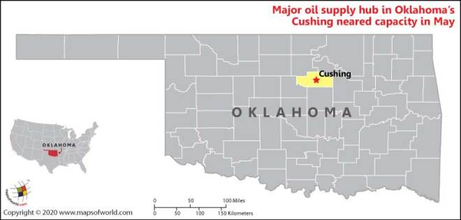 Map of Oklahome Showing Location of Cushing City (Major Oil Supplying Hub in Oklahoma)