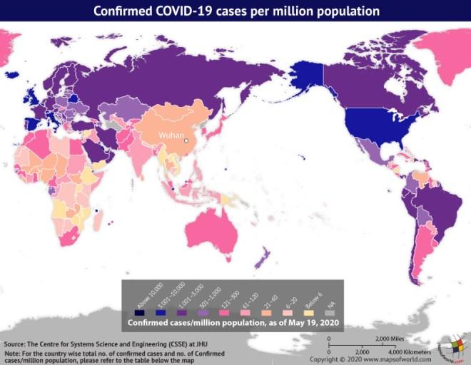 Map Highlighting the Spread of Coronavirus Around the World as per May 19, 2020