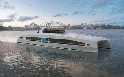Austal Australia has launched the VOLTA series of electric-powered high speed ferry solutions, with the introduction of the Passenger Express 46V, a fully electric-powered 46-meter catamaran ferry design. (Image: Austal)