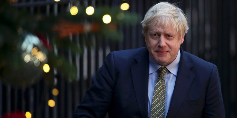 FILE PHOTO: Britain's Prime Minister Boris Johnson is pictured after delivering a statement at Downing Street after winning the general election, in London, Britain, December 13, 2019. REUTERS/Lisi Niesner/File Photo