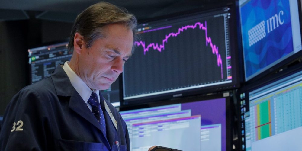 NYSE Trader worried red