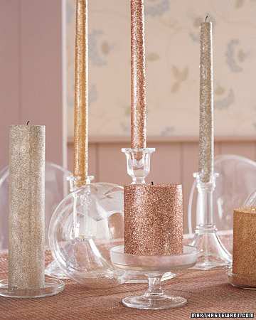 glittered candle centerpiece