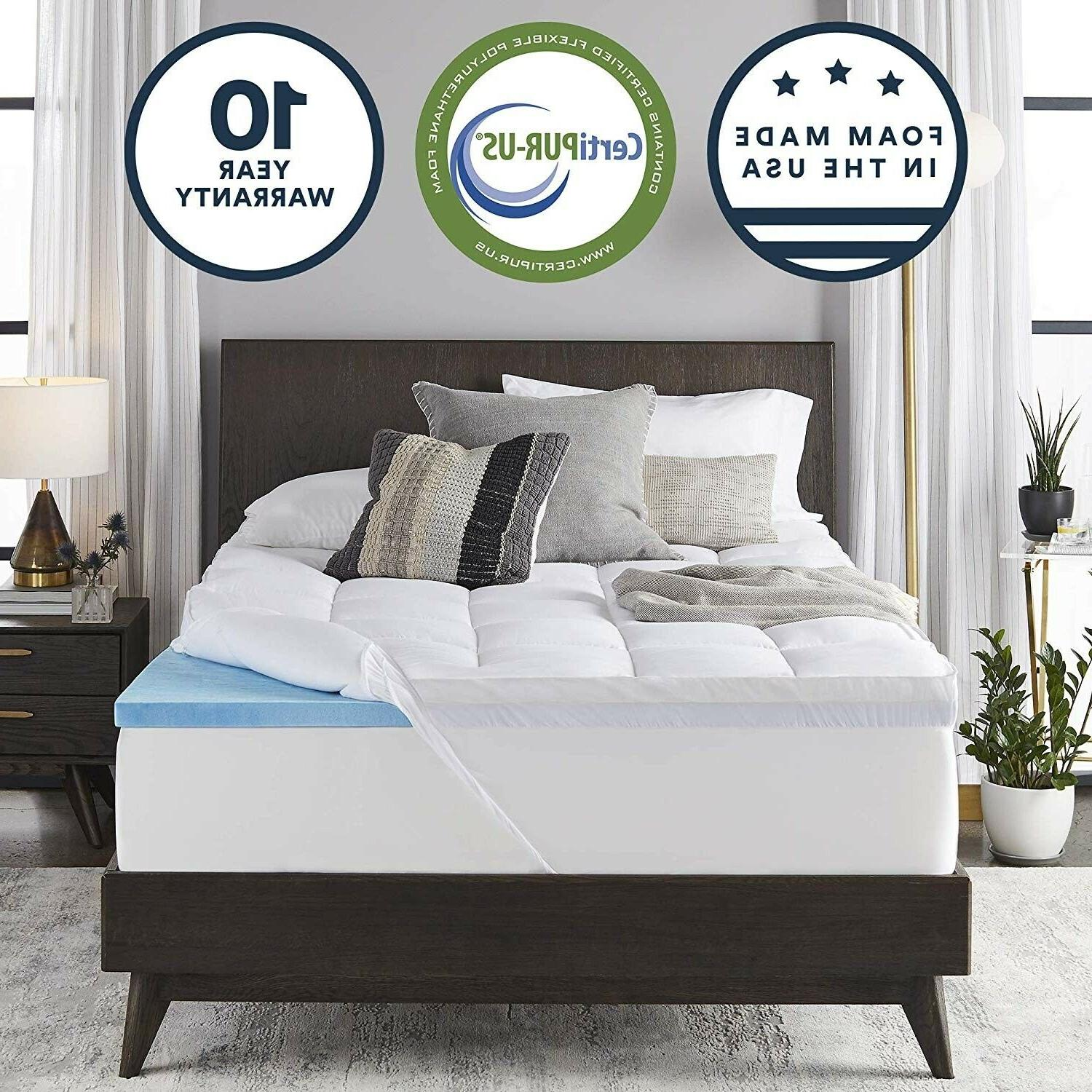 sleep innovations 2 5 inch gel memory foam mattress topper with 100 cotton cover made in the usa with a 10 year warranty california king size innocor inc g top 01730 ck wht home kitchen bedding