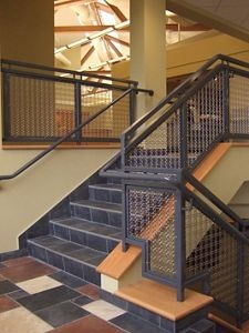 Product And Application Gallery Mcnichols® Infill Panels | Wire Mesh Stair Railing | Exterior Perforated Metal | Galvanized Mesh | Staircase | Modern | Mesh Balustrade