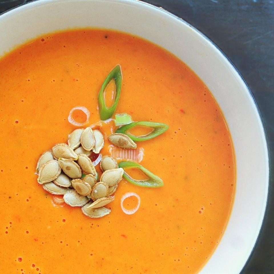Receita de Sopa de Abóbora de Coco de Curry Vermelho