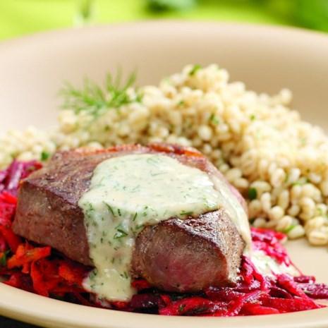 Seared Strip Steaks with Horseradish-Root Vegetable Slaw