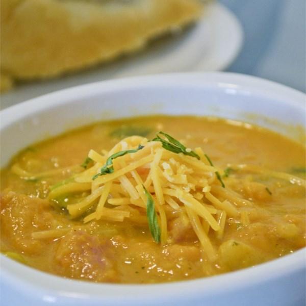 Receita de Batata Doce, Batata, Alho-poró e Sopa de Presunto