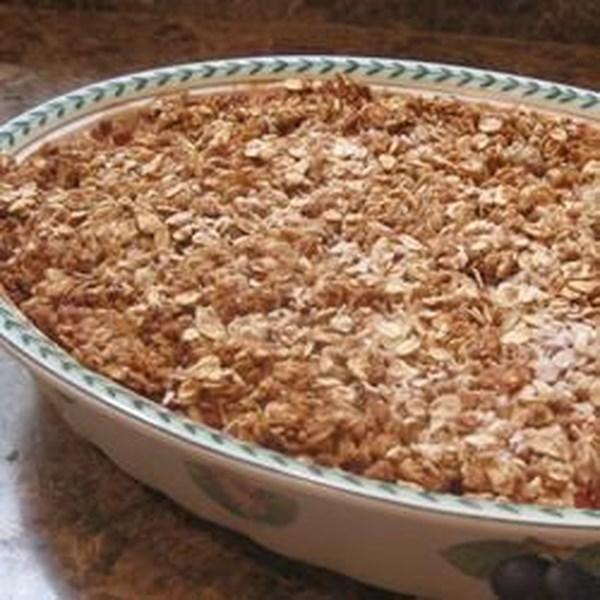 Receita de Rhubarb Crunch de morango de baixo açúcar
