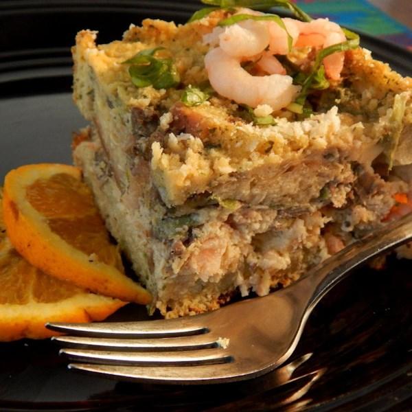 Estratos de frutos do mar com receita de pesto