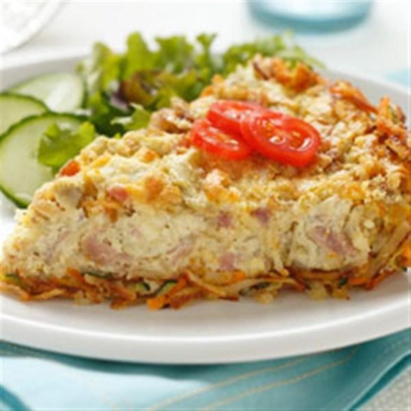Alcachofra e Quiche de Presunto com Receita de Crosta de Hashbrown Cheesy