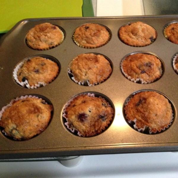 Receita de Muffins de Nozes de Banana de Mirtilo