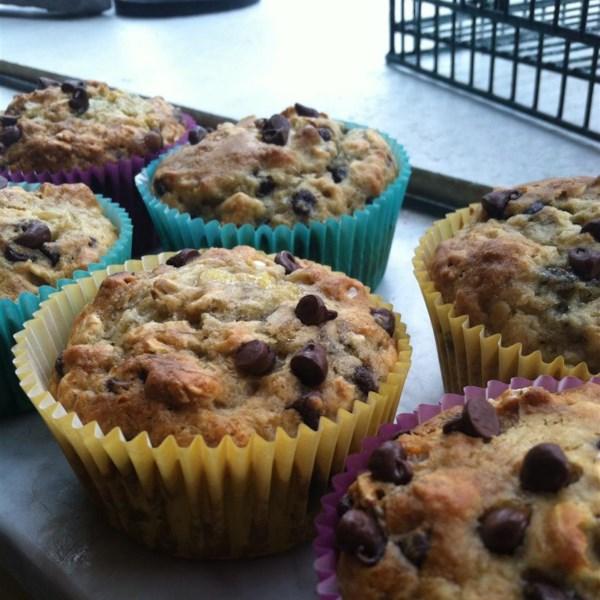 Receita de Muffins de Aveia de Chocolate de Banana Saudável