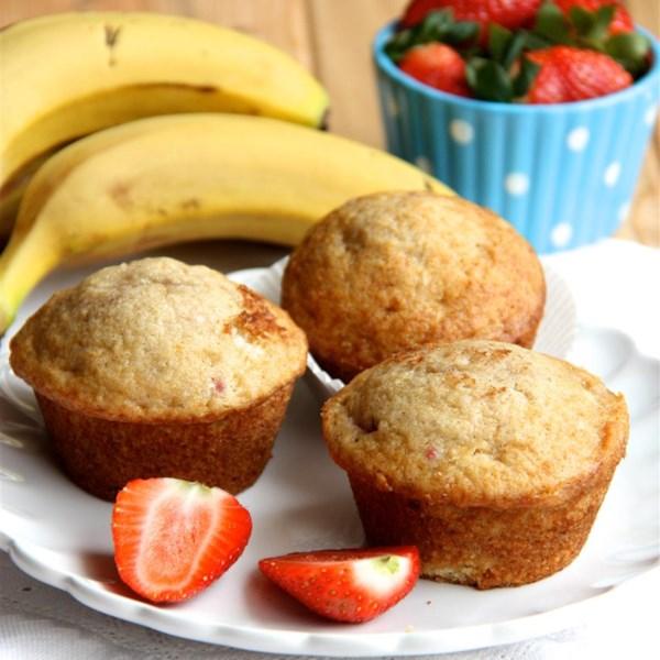 Receita de Muffins de Morango de Banana