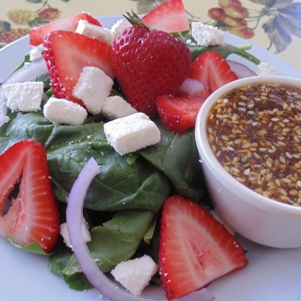 Salada de espinafre e morango com Receita de Queijo Feta