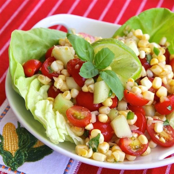 Receita de Salada de Milho de Tomate Cereja Fácil