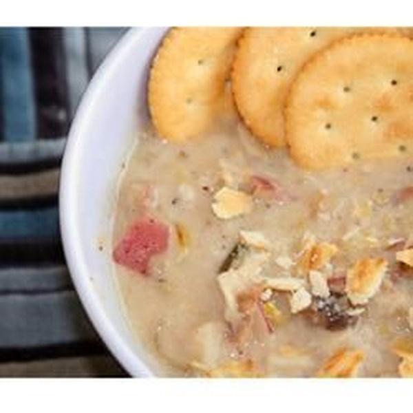 Receita de Sopa de Cheddar de Cogumelo de Batata-Comó-de-poró