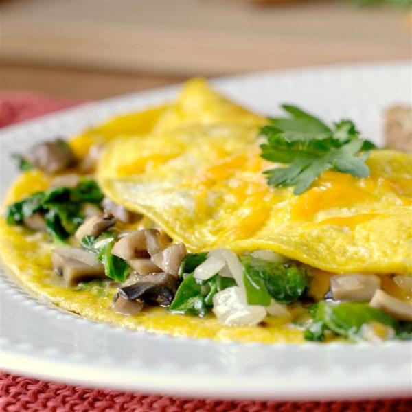 Receita de Omelete de Espinafre de Cogumelo