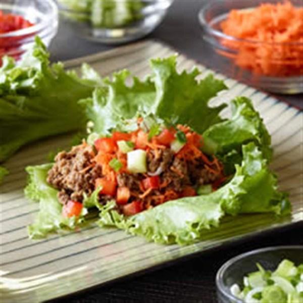 Receita de Envoltórios de Alface Asiática Vegana