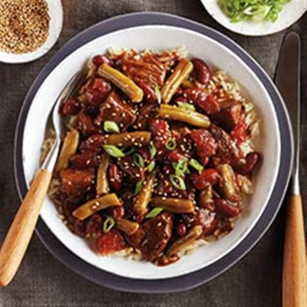Teriyaki Beef & Bean Rice Bowls da Receita del Monte(R)