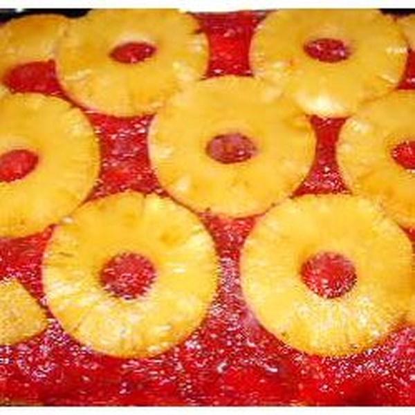 Receita de bolo de abacaxi de ruibarbo de cabeça para baixo
