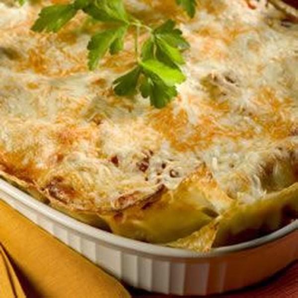 Receita vegetariana de lasanha de quatro queijos