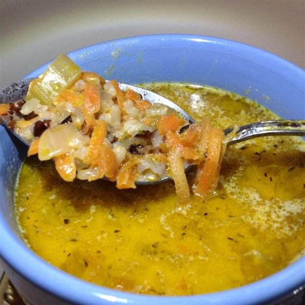 Minha receita favorita de frango e sopa de arroz selvagem