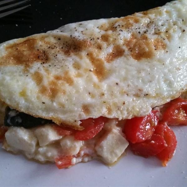 Receita de Omelete de Espinafre, Tomate e Feta Egg White