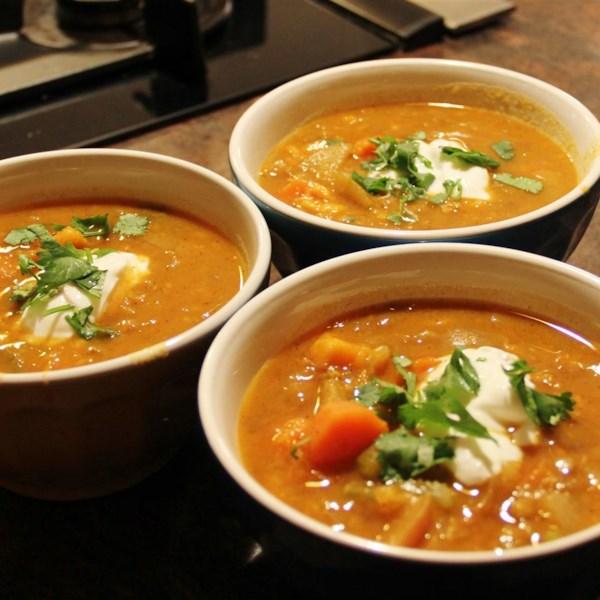 Receita de Sopa de Batata Doce, Cenoura, Maçã e Lentilha Vermelha