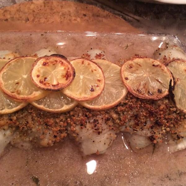Receita de sola recheada de quinoa italiana