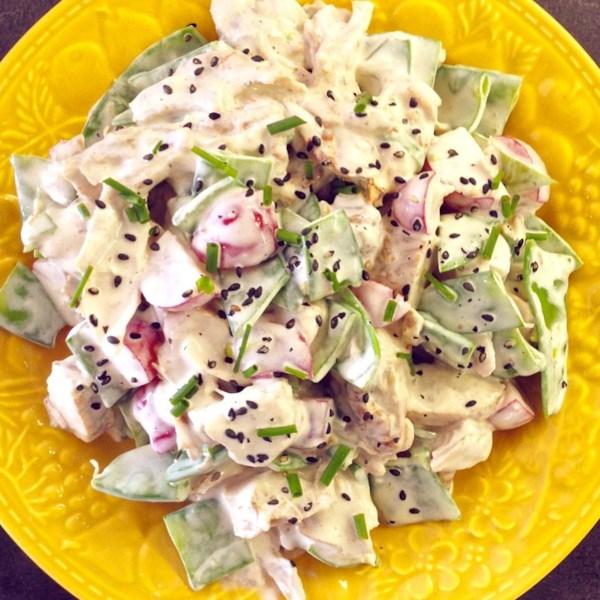 Receita de Salada de Ervilha de Frango e Neve