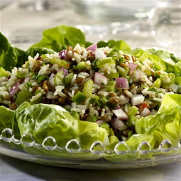 Receita de Salada de Arroz de Lentilha