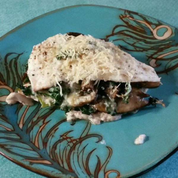 Flounder recheado de espinafre com cogumelos e receita de Feta