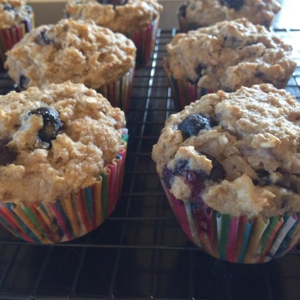 Receita de Muffins de Linho de Coco de Banana de Mirtilo