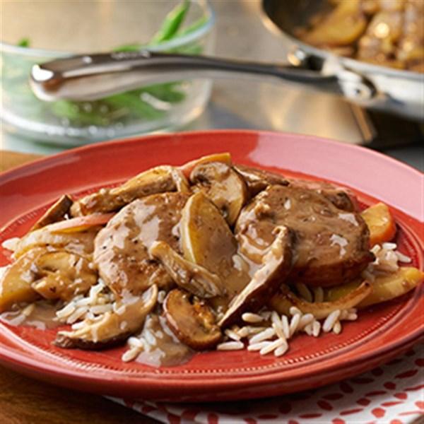 Receita de Carne de Porco com Maçãs e Cogumelos