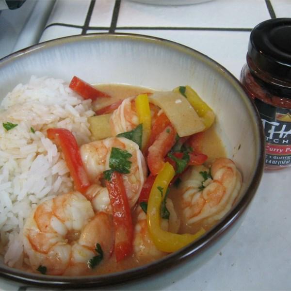 Receita de Curry Tailandês Vermelho de Camarão