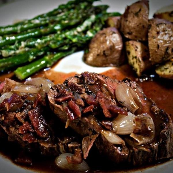 Lombo de Carne com Receita de Cebolinha Assada