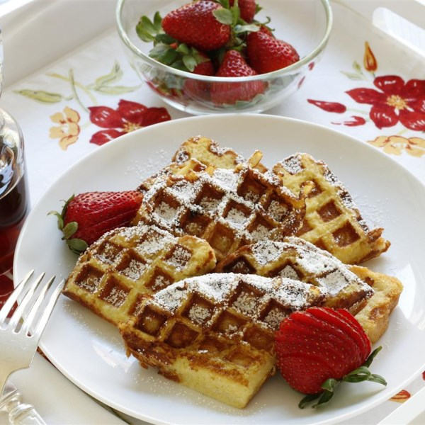 Receita de Waffles de Torradas Francesas Fáceis