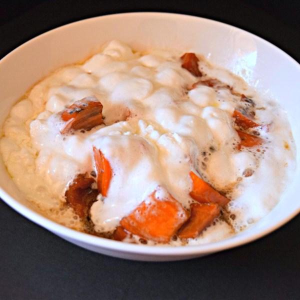 Receita de Batata Doce de Panela Lenta (Inhame) e Marshmallows