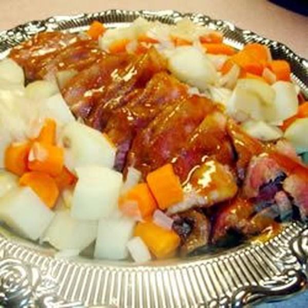 Carne envidraçada com receita de lentilha